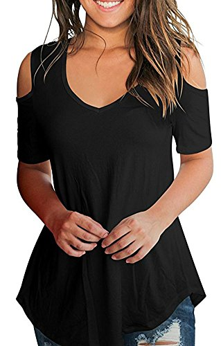 Out Cut Casual Solid (Aro Lora Women's Short Sleeve Cut Out Shoulder Tops Casual V-Neck Shirts Black L)