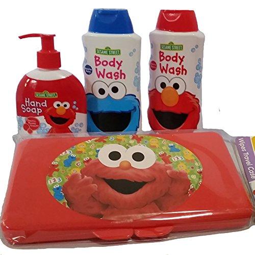 Sesame street bath bundle-4 items:2 body wash, hand soap wipes case ()