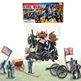 50 PC DELUXE CIVIL WAR TOY SOLDIERS PLAY SET - THE UNION v. CONFEDERATE ARMIES - SOLDIERS - CANNONS - FLAGS & MORE FACTORY SEALED
