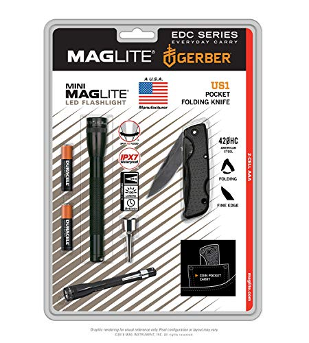 Mini Maglite AAA LED Flashlight IPX7 / Gerber US1 Folding Pocket Knife 420HC American Steel  (Made in USA)