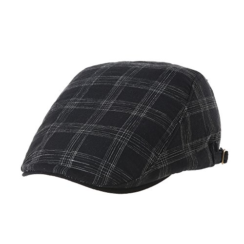 Linen Plaid Cap (WITHMOONS Flat Cap Linen Solid Brim Lattice Plaid Pattern IVY Hat LD3038 (Black, L))