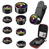 Criacr Phone Camera Lens, 8 in 1 Zoom Lens Kit, 0.36X Super Wide