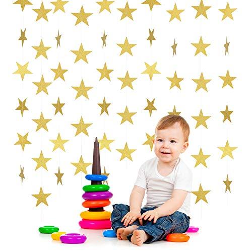 (12 Packs 156 Feet Golden Glitter Star Garland Sparkling Star Bunting Banner for Wedding Birthday Christmas Festival Graduation Party Holiday Decorations, Each Star Garland 13 Feet)