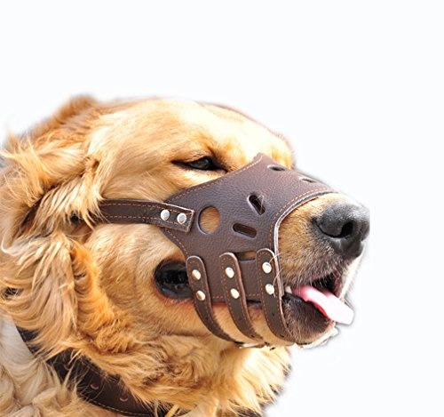 JeonbiuPet Adjustable Dog Muzzle Anti Bite Bark Allow Drink Soft Leather (M)
