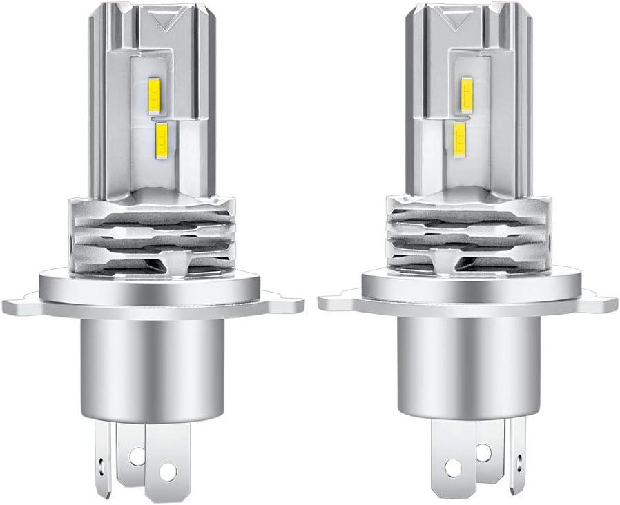 Bombilla H4 LED Faros de luces altas/bajas Coche 6500K DC 12V/24V Faros Lámparas Para Coches 1: 1 Diseño, Reemplazo De Luz Halógena y Faros De Xenón Color Blanco(2pcs)