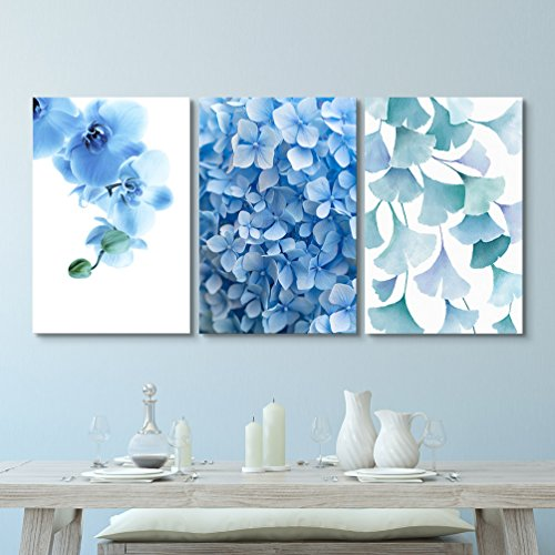 wall26-3 Panel Canvas Wall Art - Blue Flowers and Leaves - Giclee Print Gallery Wrap Modern Home Decor Ready to Hang - 16''x24'' x 3 Panels by wall26