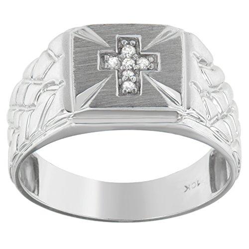 10KT White Gold Diamond Accent Cross Engraved Men's Ring (0.01 (Mens Diamond Cross Ring)