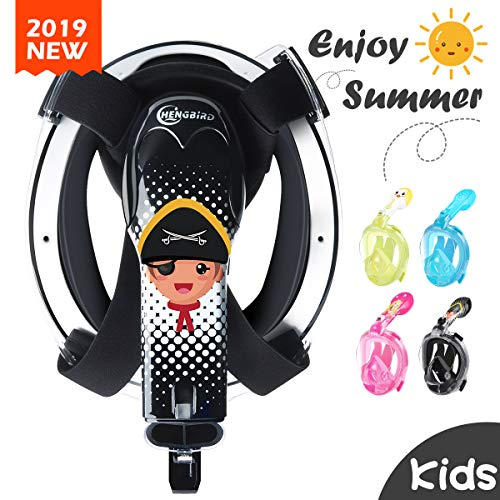 HENGBIRD Kids Snorkel Mask, 2019 New Version 180°Panoramic View Full Face Snorkeling Mask with Detachable Camera Mount,Breath-Free, Anti Foggy No Leaking for 5-10 Years Old Children Boys and Girls