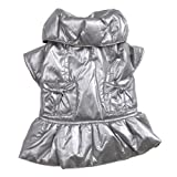 Zack and Zoey Polyester Razzle Dazzle Puffy Dog Coat, Small/Medium, Platinum, My Pet Supplies