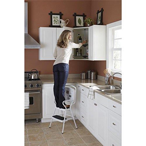 Cosco 11130whte White Retro Counter Chair Step Stool