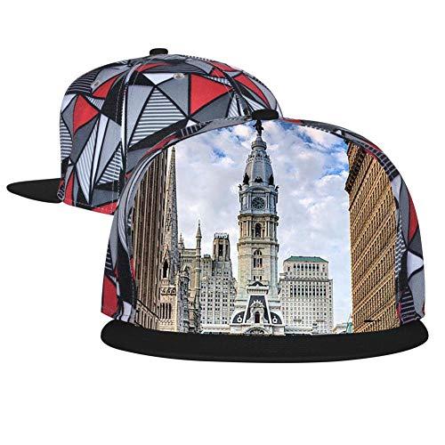(MKASTS Washington Boulevard Unisex Trucker Hip Hop Hat Flat Bill Brim Adjustable Baseball Cap Black)