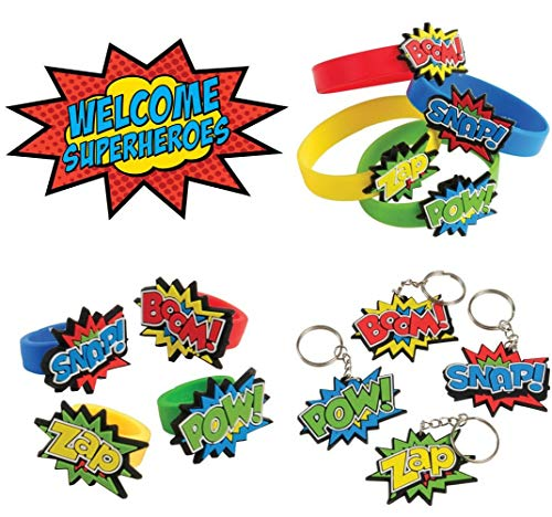 Superhero Rubber Bracelets, Rings, and Keychains (36 Super Hero Toys)