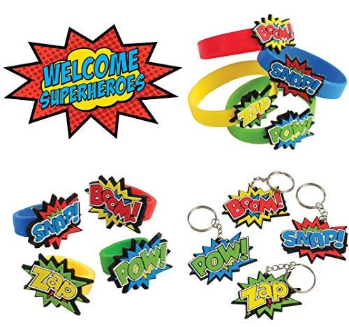 Superhero Rubber Bracelets, Rings, and Keychains (36 Super Hero -