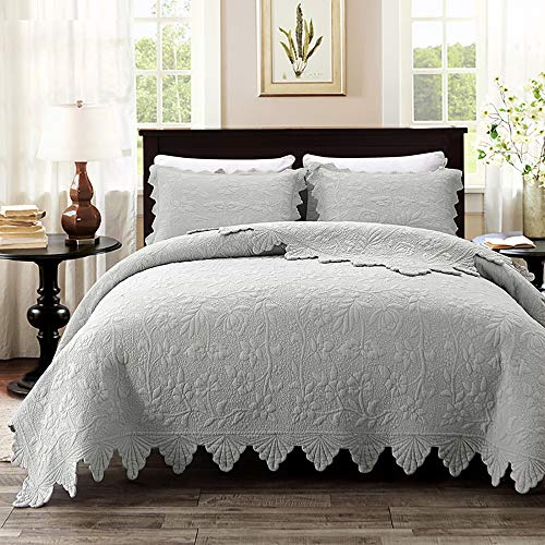 Brandream Luxury Farmhouse Bedding Quilt Set Grey Queen Size Quilted Bedspread Coverlet Set Cotton