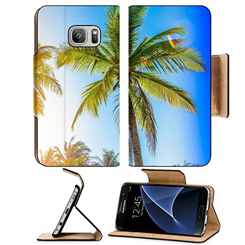 Luxlady Premium Samsung Galaxy S7 Flip Pu Leather Wallet Case IMAGE ID: 41896803 Silhouette palm tree vintage filter and leak - Frame Angeles Sky Los