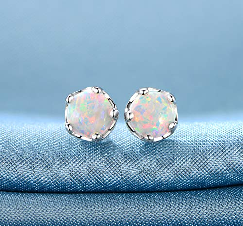 29854f0d9 GEMSME Rhodium Plated Opal And Cubic Zirconia Created Crown Stud Earrings  6mm
