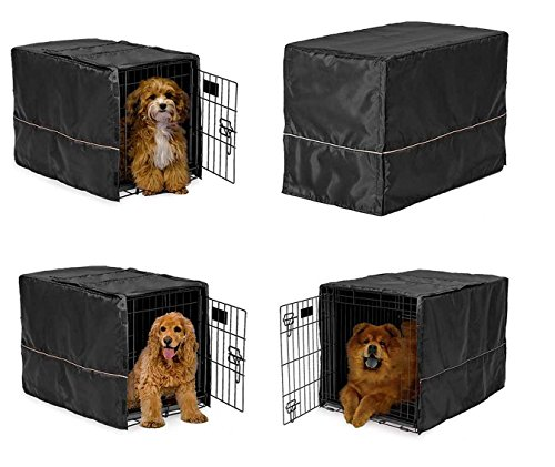 Black Opaque Dog Crate Cover Selections - Quiet Night Time Den Like Security(xLarge 48
