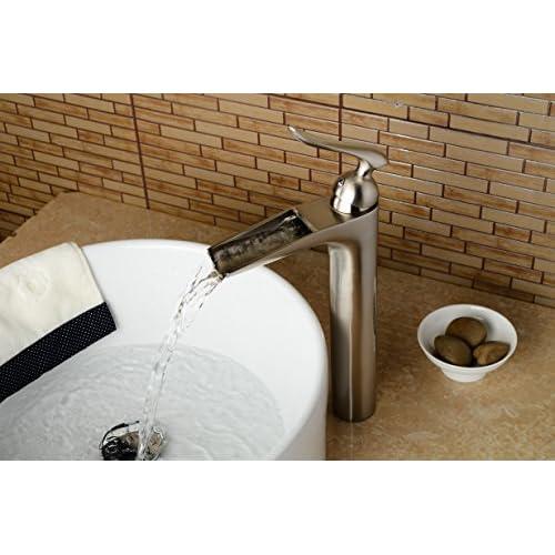 on sale Aquafaucet Brushed Nickel Waterfall Bathroom Vessel Faucet