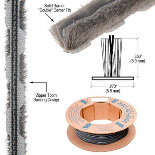 CRL Zipper Pile Weatherstrip .270 Backing - .350 Pile Height - 100 Roll