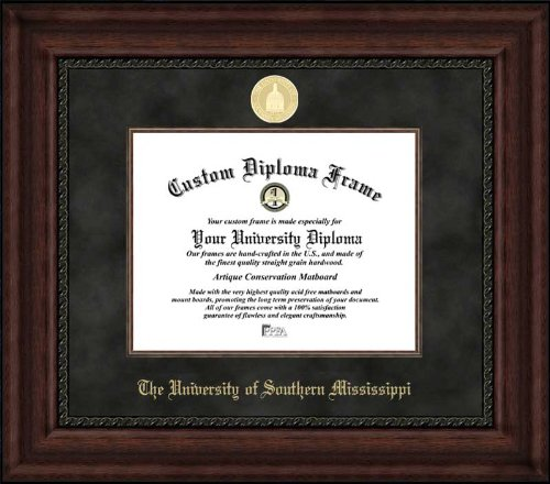 Univ. of Southern Mississippi Golden Eagles - Gold Medallion - Suede Mat - Mahogany - Diploma Frame (Framed Southern Mississippi Golden Eagles)