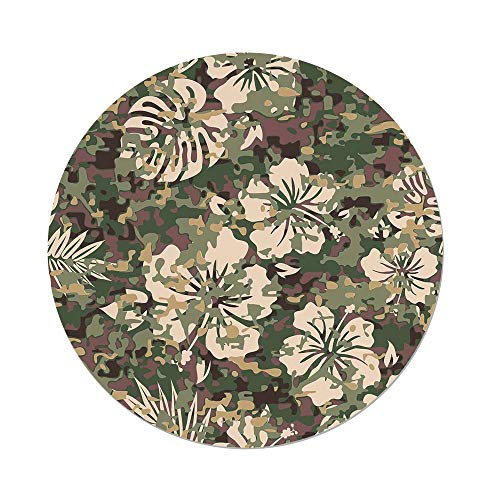 iPrint Polyester Round Tablecloth,Camo,Aloha Hawaiian Tropic