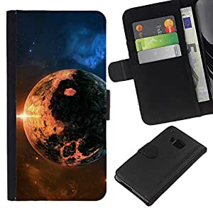 Planetar® Modelo colorido cuero carpeta tirón caso cubierta piel Holster Funda protección Para HTC One M7 ( Space Planet Galaxy Stars 8 )