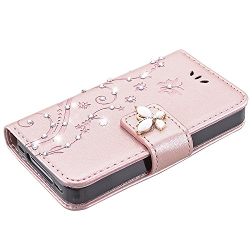 iPhone 4 / 4S Hülle, Yokata Flip Rose Gold Case Vintage PU Leder Bookstyle Blumen und Bling Diamant Schmetterlinge Motiv Case mit Weich Silikon Backcover Schutzhülle Dünne Standfunktion und Karte Halt