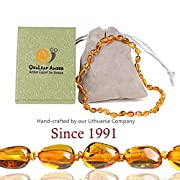 Amber Teething Necklace for Baby (1-Year Worry-Free Guarantee), 100% Authentic Baltic Amber Necklace for Toddler & Infant - Natural Remedy of Drool, Molar, Fussiness & Teething Relief (Cognac - 12.5')