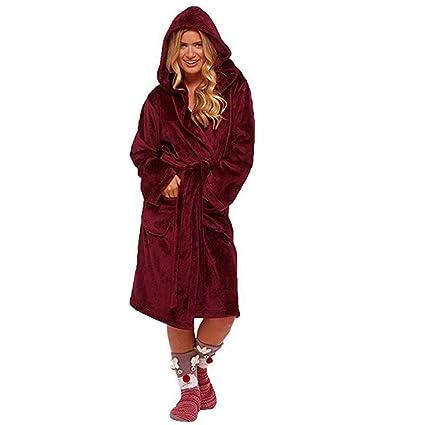 TOOMD Bata de baño para Mujer de otoño/Invierno con Bata de Lujo con cinturón