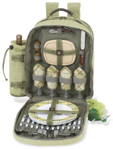 Picnic at Ascot - Deluxe Equipped 4 Person Picnic Backpack with Cooler & Insulated Wine Holder - Olive Tweed