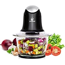 POSAME Food Chopper 1Liter One-Touch Glass Bowl Food Processor Black