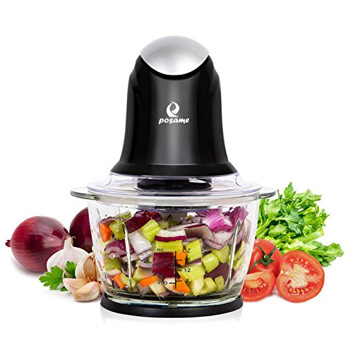 POSAME Mini Food Processor Meat Grinders Electric,Small Kitchen Food Chopper Vegetable Fruit Cutter Onion Slicer Dicer, Blender and Mincer, with 4-Cup Glass Bowl-Black