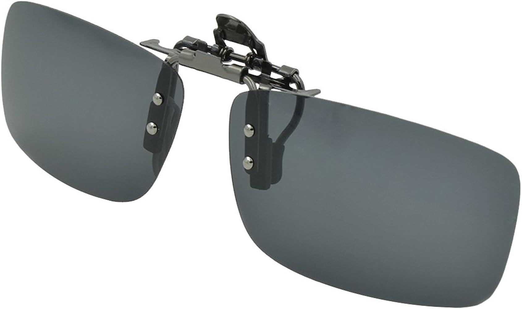 Grey Clip On Flip Up Sunglasses Polarized UV400 Driving Glasses Fishing S//M//L
