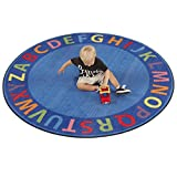 ECR4Kids Classroom A-Z Circle Time Educational Seating Rug for Children, School Classroom Learning Carpet, 6-Feet Round