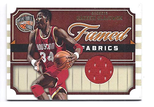HAKEEM OLAJUWON 2009-10 Panini Hall of Fame Famed Fabrics #9 Game Worn Jersey Card Numbered to only 399 Made! Houston Rockets Basketball