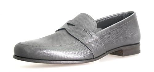 Prada - Mocasines de Piel para Hombre Gris Mercurio: Amazon.es: Zapatos y complementos