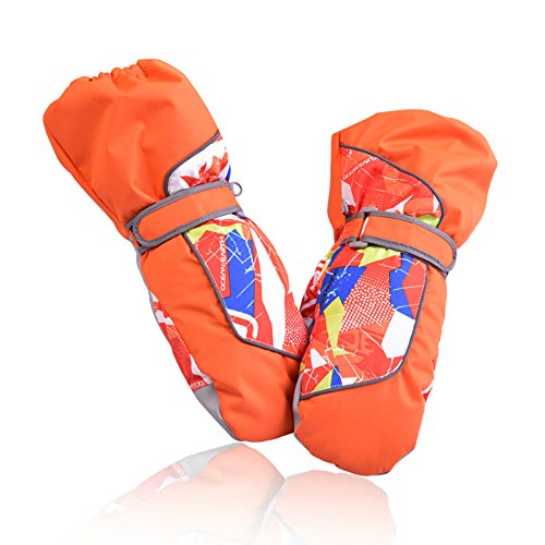 Girls Snowboarding (SZHOWORLD Kids Toddler Baby Ski Snowboarding Windproof Waterproof Stay On Winter Youth Mittens Gloves for boys and girls with Thickening Lining and Velcro Strap (Orange, Medium / 5-7 Years))