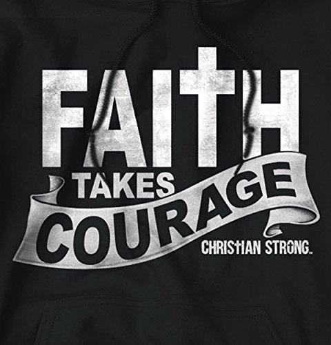 Faith Courage T Shirt Jesus Christ Love Bible God Savior Gift Hoodie Sweatshirt by Christian Strong (Image #1)
