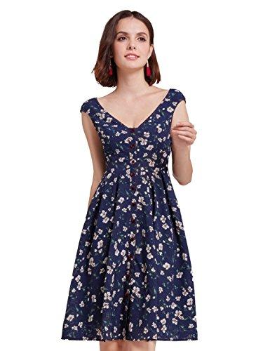Alisa Pan Imprimé Floral Robe Courte Casual Pour Les Femmes Bleu Marine 05799