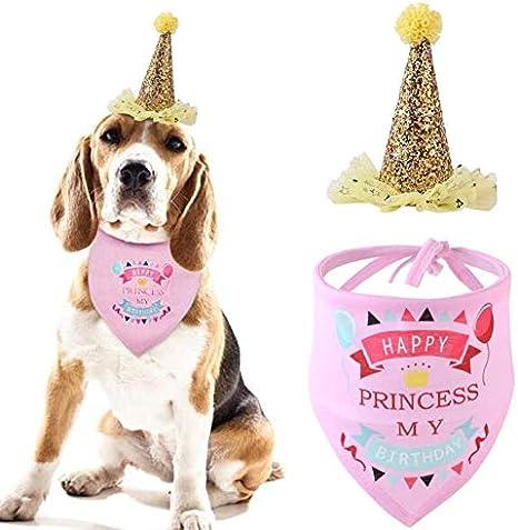 Eurobuy Sombrero de cumplea/ños para Mascotas y pa/ñuelo Tipo Bandana para Las Fuentes de la Fiesta de cumplea/ños de los Cachorros de Perros el Traje de cumplea/ños para Perros y el Juego de decoraci/ón