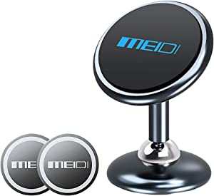 MEIDI Magnetic Phone Car Mount, Two-Way Adjustable Dashboard Cell Phone Holder Compatible with GPS, Mini Tablets and Smart Phones (Grey