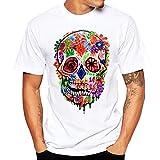 Men Tee Shirt, Floral Skull Print T-Shirt Polo Shirts Hip Hop Outfit Cool Tank Tops Black