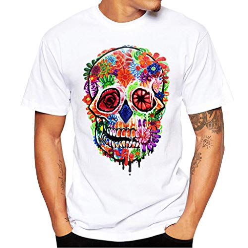 Men's Casual Skull Print Classic Jersey T-Shirt Short Sleeve Crew Neck Tee Tops,S-3XL (S, White)