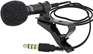 BFHCVDF Mini Microphone Condenser Clip-on Lapel Lavalier Mic Wired for Phone Laptop Black