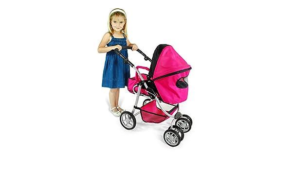 Amazon.es: Muñecas Saica - Carro 3 en 1: capazo, cuco y sillita, color fucsia y negro (9472): Juguetes y juegos