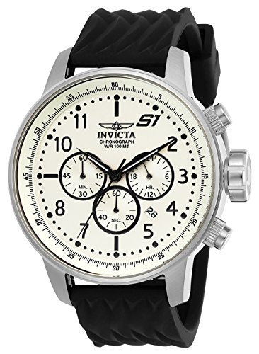 Invicta Men's S1 Rally Stainless Steel Quartz Watch with Silicone Strap, Black, 22 (Model: 23810)