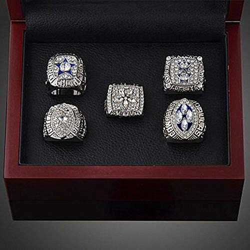 AJZYX Dallas Cowboys Supper Bowl Championship Rings Full Set Replica Ring Collectible with Display Box White Size - Cowboys Dallas Bag Sleeping
