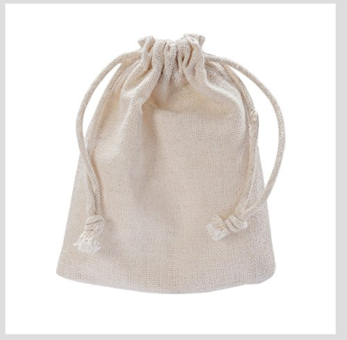MIAOMIAO [set of 6] reusable cotton double drawstring Bags, Machine Washable gift bags, Natural Linen Pouches for Gift Packaging, Perfect for Birthday Parties, Wedding, Giveaways (big (5.9