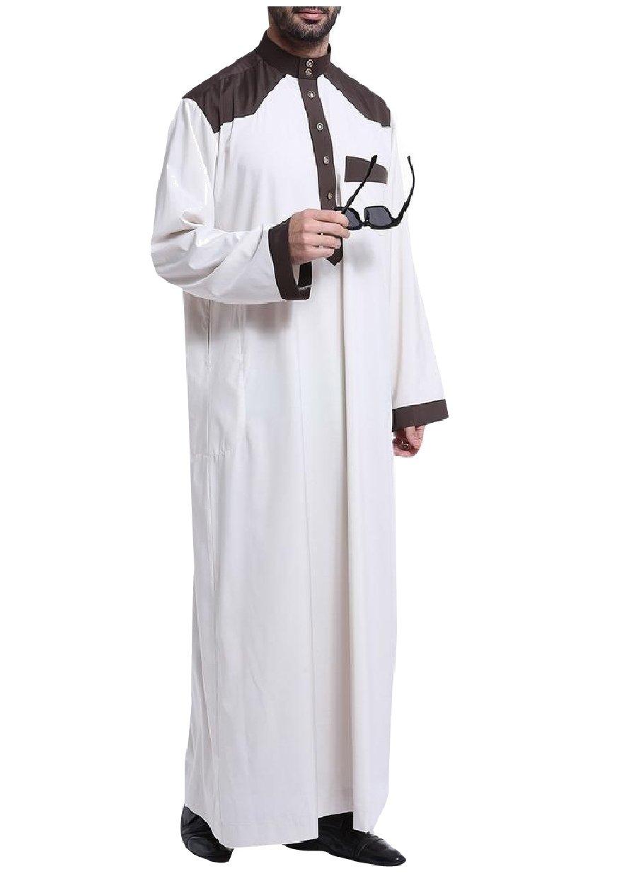Abetteric Men Middle East Islamic Stitch Saudi Arabia Arab Muslim Thobe Beige L