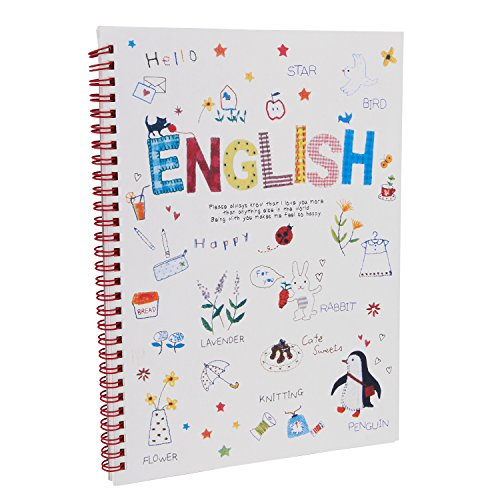 60 Sheet Spiral Notebook - Twist Writing Notebook B5 Size Wirebound English Notebook with 4 lines for Practicing Letters and Number,Handwriting,Doing Homework,60 Sheets, School Stationery Gift for Primary Schoolers